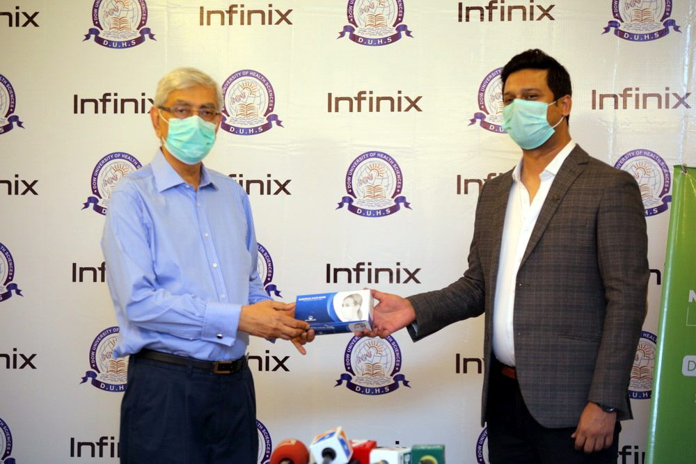 Mr. Saad Shams, Marketing Director for Infinix Pakistan with Vice Chancellor of DOW Medical Institute, Muhammad Saeed Qureshi.